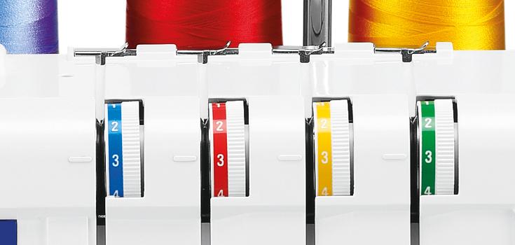 Farbmarkierungen für den Fadenlauf