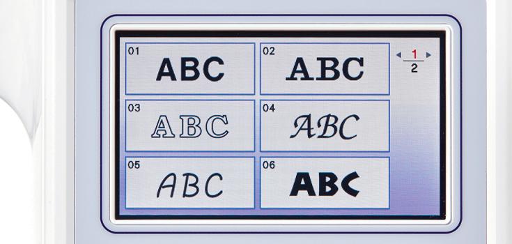 11 einprogrammierte Stickschriften