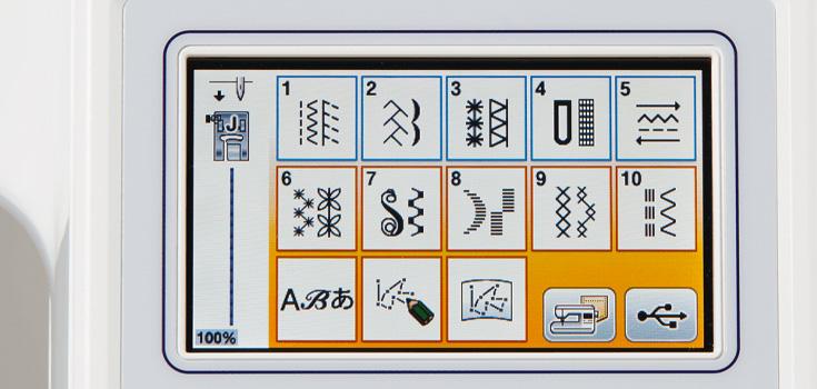 182 einprogrammierte Nähstiche, inklusive 10 Knopflochvarianten