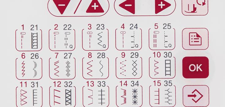 40 einprogrammierte Nähstiche inklusive 6 Knopflochvarianten