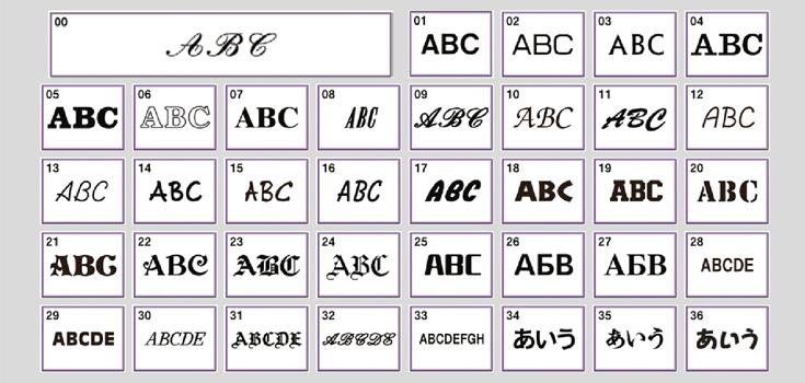 28 einprogrammierte Schriften